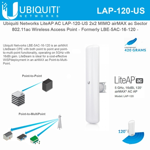 Ubiquiti LiteBeam AC 5GHz 802.11ac Built-in 120 Degree 16dBi Sector 2×2 MIMO (LBE-5AC-16-120-US)